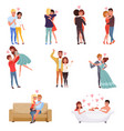 young men and women characters embracing dancing vector image vector image