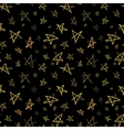Golden hand-drawn stars on night sky seamless vector image