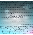 Word prison written by a barbed wire vector image