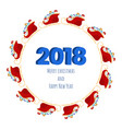 2018 happy new year numbers design with santa vector image vector image