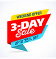 3 day sale banner design template special weekend vector image vector image