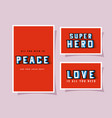 3d peace super hero and love lettering on red vector image vector image
