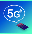 5g technology smartphone with symbol vector image
