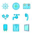 blue icons set cartoon style vector image