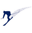 blue silhouette of a mountain-skier vector image