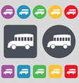Bus icon sign A set of 12 colored buttons Flat vector image vector image