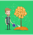 businessman watering tree with bitcoin coins vector image vector image