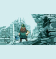 cartoon viking with an ax in the stone ruins of a vector image vector image