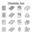chocolate icon set in thin line style vector image