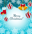 Christmas decorations on a blue BG vector image vector image