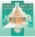 Christmas Design with House Winter Landscape vector image vector image