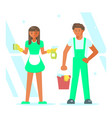 cleaning service staff vector image vector image
