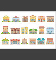 commercial buildings exterior design set of vector image