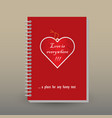 cover of diary valentine paper heart tag vector image vector image
