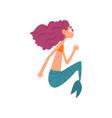 cute funny little mermaid fairytale mythical vector image