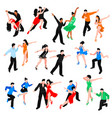 dances isometric people set vector image