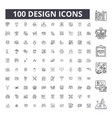 design editable line icons 100 set vector image vector image