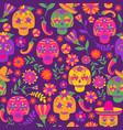 dia de los muertos seamless pattern the vector image