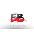 eb e b brush logo letters with red and black vector image vector image