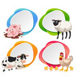 farm animal on banner vector image vector image