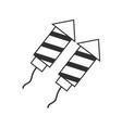 fireworks rocket icon in black flat outline design vector image vector image
