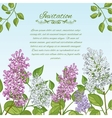 Floral card with lilacs on blue background vector image vector image