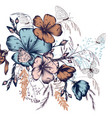 flowers ad butterflies composition vintage style vector image vector image