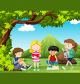 four kids reading books under the tree vector image vector image