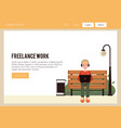 freelance man work from street bench vector image