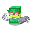 gamer stacks money dollar on bank character vector image