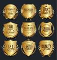 golden shields and laurel wreaths retro design vector image vector image