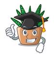 graduation character small zebra cactus plant on vector image