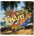 Haiti hand lettering and doodles elements emblem vector image