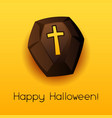 happy halloween coffin vector image vector image