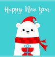 happy new year polar white bear cub face holding vector image vector image