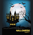 haunted castle halloween card background vector image