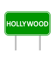 Hollywood green road sign vector image vector image