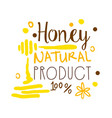 honey natural product 100 percent logo symbol vector image vector image