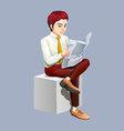 Man reading newspaper alone vector image