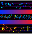 multicolored music notes on black background vector image