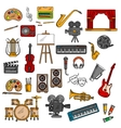 Music fine art cinema and theater icons vector image vector image