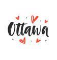 ottawa modern city hand written brush lettering vector image vector image