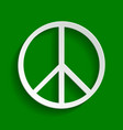 peace sign paper whitish vector image vector image