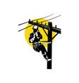 Power Lineman on Phone vector image