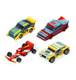race car set 3d racing cars isometric sport vector image