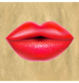 Red Lips With Retro Paper vector image vector image