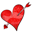 Red Valentines Day detailed heart pierced an arrow vector image