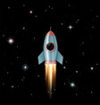 rocket flies into outer space to the stars vector image