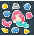 set cute creative stickers templates with vector image vector image