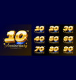 set gold anniversary celebration numbers logo vector image